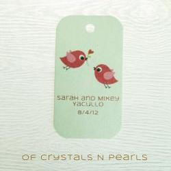 24 Love Birds Customised Gift Tags - Wedding Favor Tags - Thank you tags - Wedding Gift Tags - Baby Shower Tags