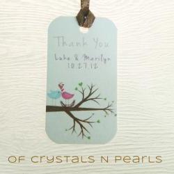 24 Love Birds Customised Gift Tags - Wedding Favor Tags - Thank you tags - Wedding Gift Tags